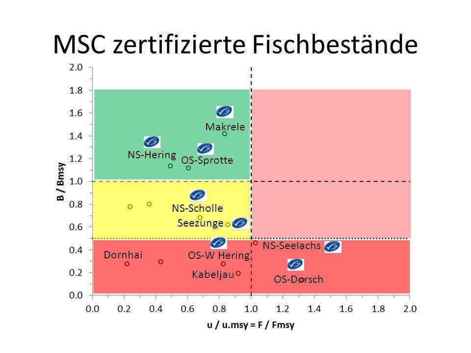 MSC zertifizierte Fischbestände Makrele NS-Hering OS-Sprotte NS-Scholle NS-Seelachs OS-Dorsch OS-W Hering Dornhai Kabeljau Seezunge