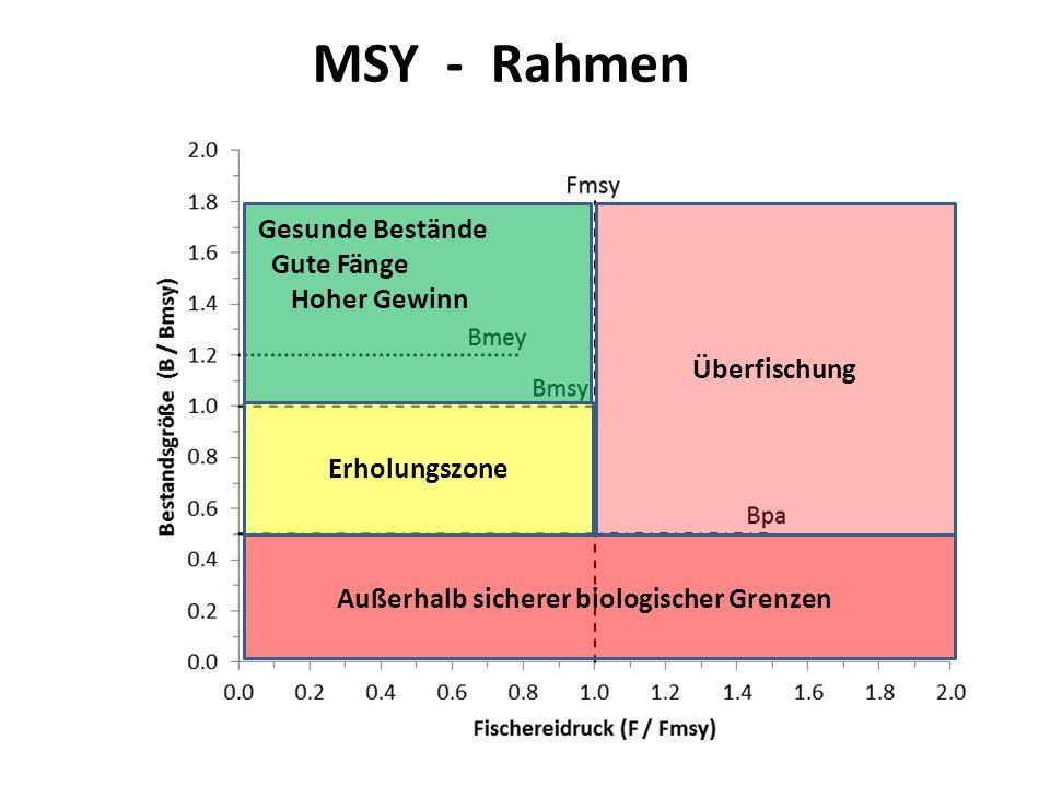 MSY Framework Erholungszone Überfischung Außerhalb sicherer biologischer Grenzen Gesunde Bestände Gute Fänge Hoher Gewinn MSY - Rahmen