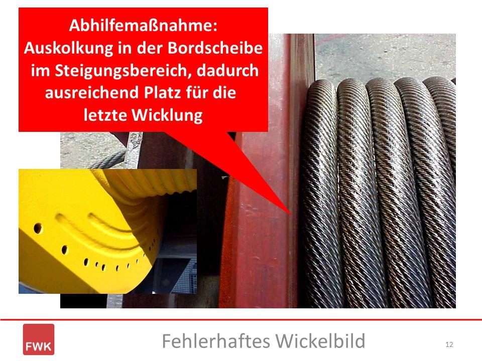 12 Abhilfemaßnahme: Auskolkung in der Bordscheibe im Steigungsbereich, dadurch ausreichend Platz für die letzte Wicklung Fehlerhaftes Wickelbild