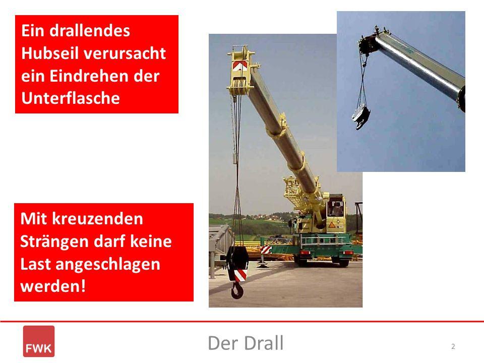 2 Der Drall Ein drallendes Hubseil verursacht ein Eindrehen der Unterflasche Mit kreuzenden Strängen darf keine Last angeschlagen werden!