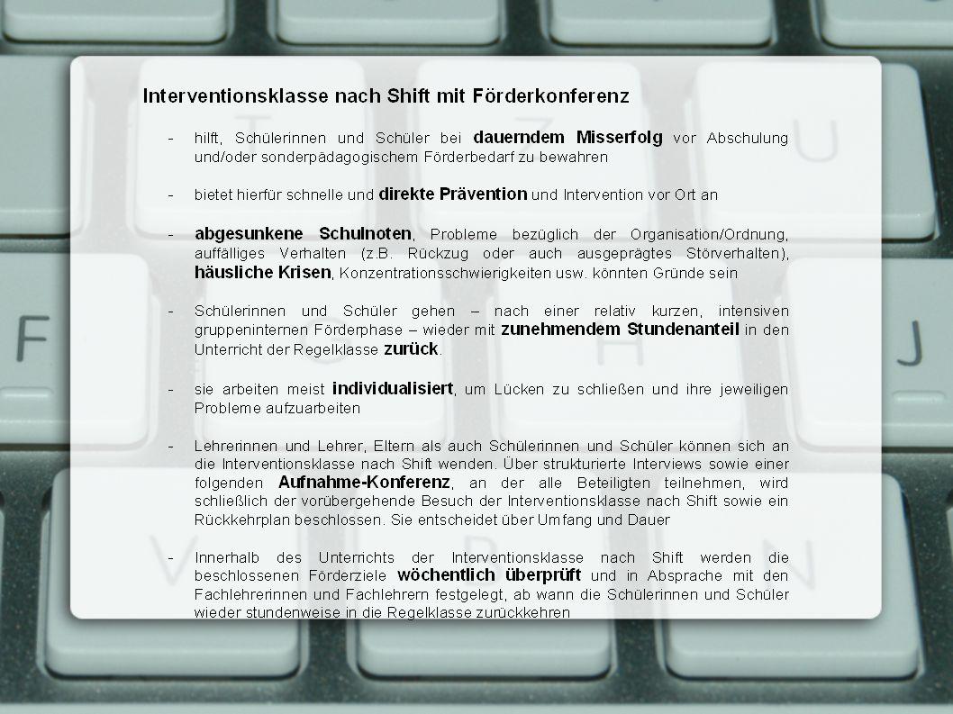 Übersicht 1.Konzept 2.Aufnahme 3.Ablauf 4.Zielgruppe 5.Ziele Arbeit- und Sozialverhalten 6.Organisation/Information 7.Lerntagebuch 8.Statistik 9.Inhalte 10.Evaluation 11.Materialschau 12.Offene Fragen