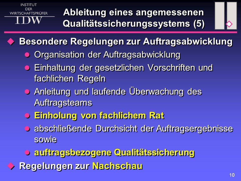 11 Anwendungsbereich der Regelungen zur Qualitätssicherung  Regelungen zur allgemeinen Praxisorganisation betreffen alle Tätigkeitsbereiche der WP-Praxis kein Unterschied gegenüber VO 1/1995  Besondere Regelungen zur Qualitätssicherung bei der Auftragsabwicklung VO 1/1995: ausschließlich Abschlussprüfungen E-VO 1/2005: betriebswirtschaftliche Prüfungen nach § 2 Abs.