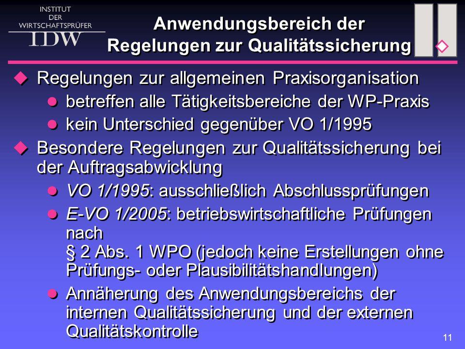 11 Anwendungsbereich der Regelungen zur Qualitätssicherung  Regelungen zur allgemeinen Praxisorganisation betreffen alle Tätigkeitsbereiche der WP-Pr