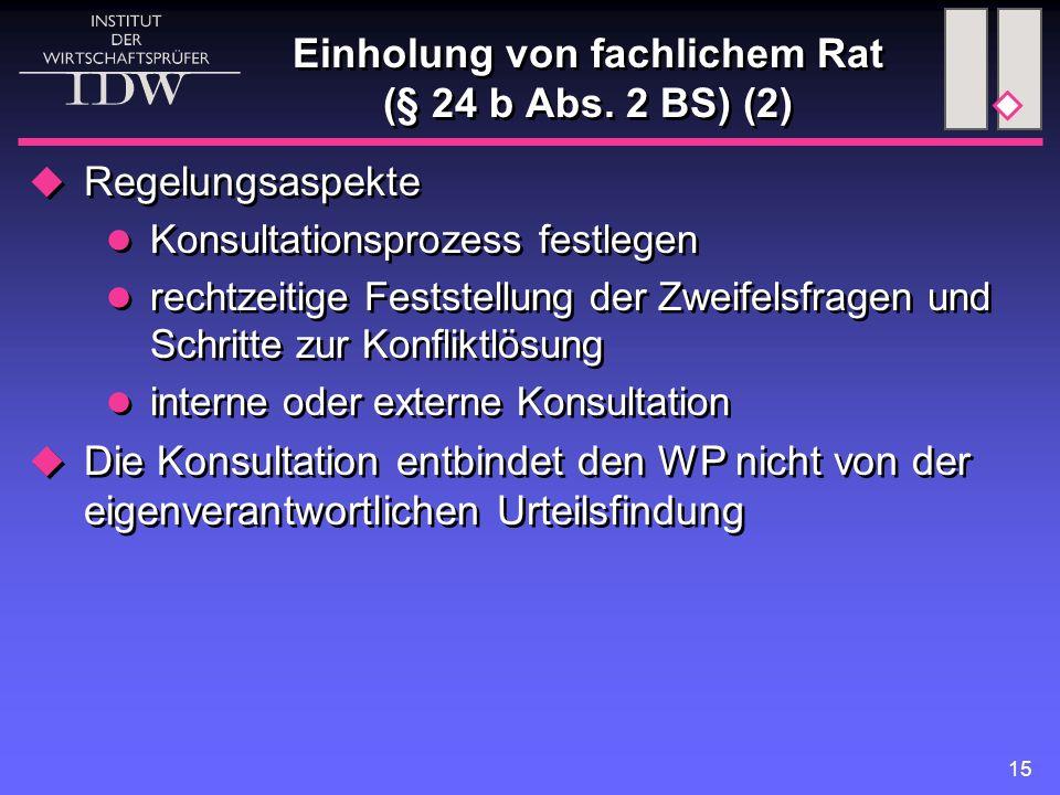 15 Einholung von fachlichem Rat (§ 24 b Abs. 2 BS) (2)  Regelungsaspekte Konsultationsprozess festlegen rechtzeitige Feststellung der Zweifelsfragen