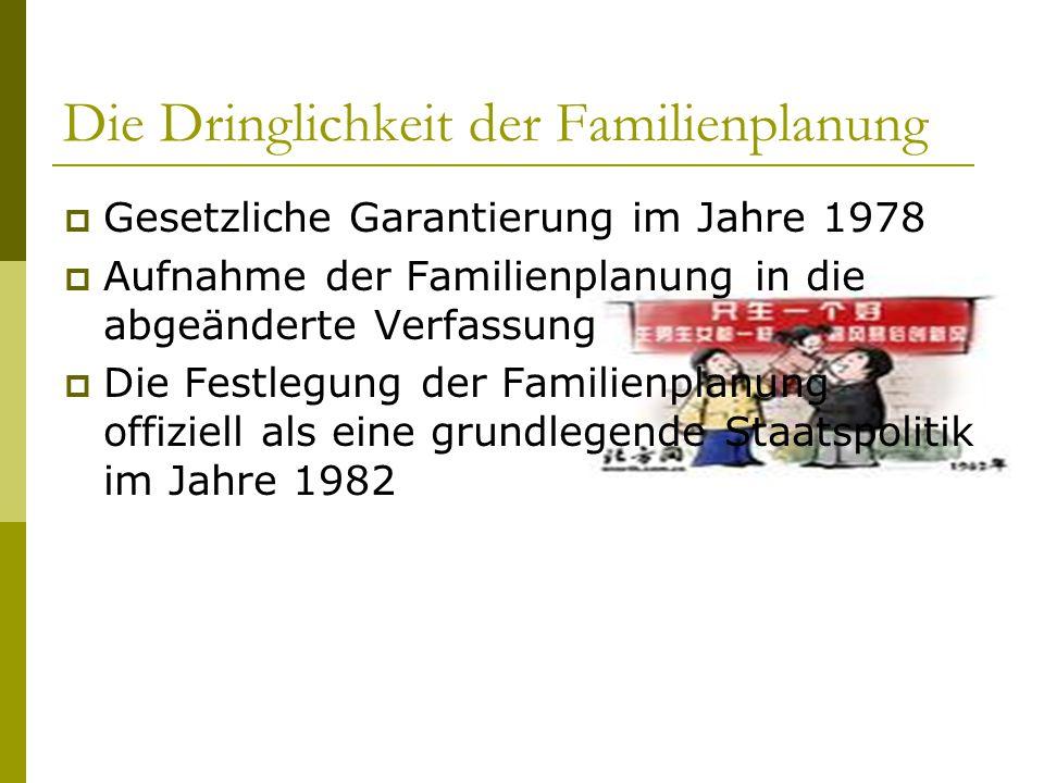 Die Dringlichkeit der Familienplanung  Gesetzliche Garantierung im Jahre 1978  Aufnahme der Familienplanung in die abgeänderte Verfassung  Die Festlegung der Familienplanung offiziell als eine grundlegende Staatspolitik im Jahre 1982