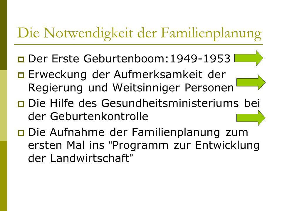 Die Notwendigkeit der Familienplanung  Der Erste Geburtenboom:1949-1953  Erweckung der Aufmerksamkeit der Regierung und Weitsinniger Personen  Die