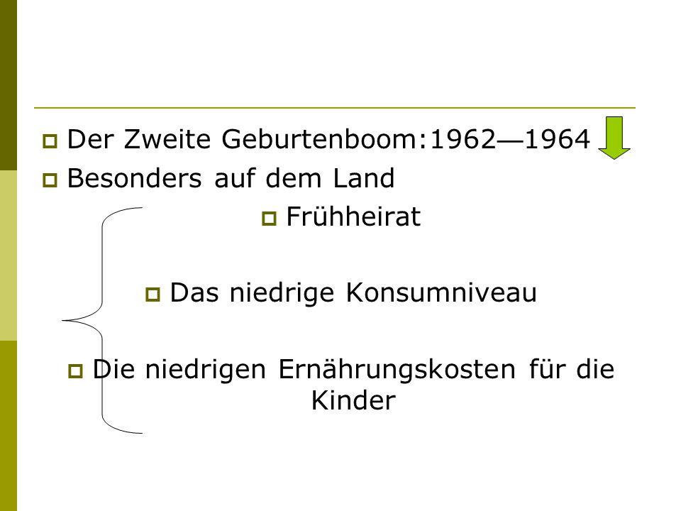  Der Zweite Geburtenboom:1962 — 1964  Besonders auf dem Land  Frühheirat  Das niedrige Konsumniveau  Die niedrigen Ernährungskosten für die Kinde