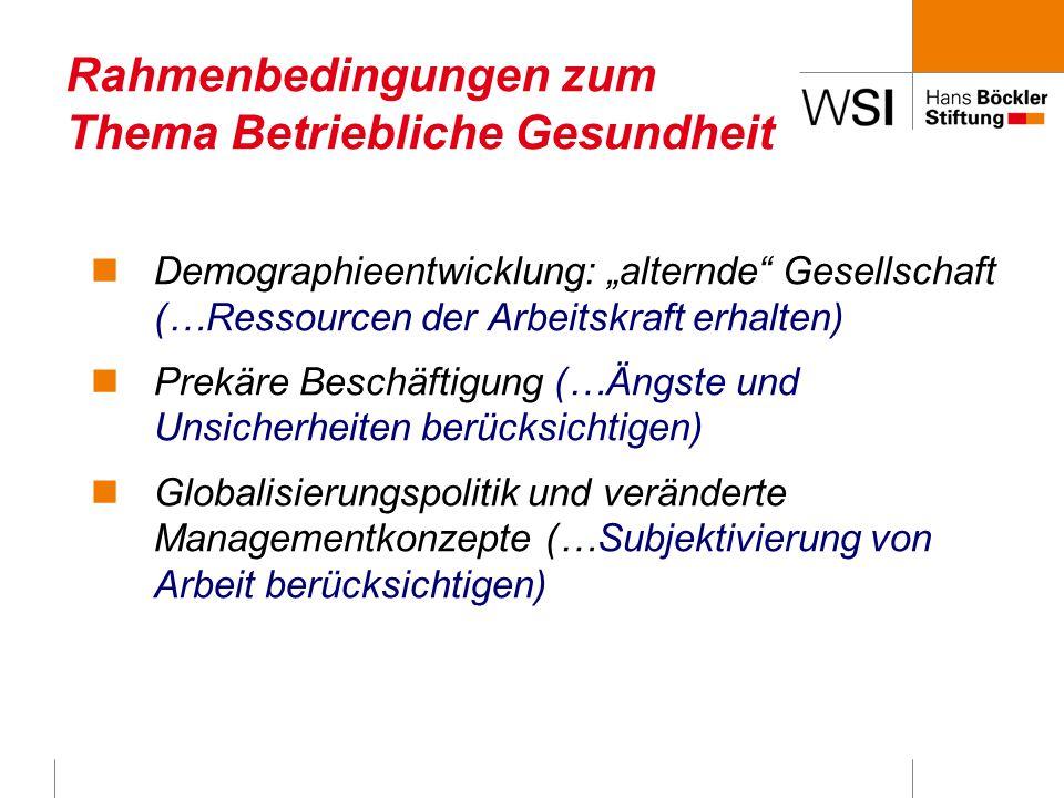 """Rahmenbedingungen zum Thema Betriebliche Gesundheit Demographieentwicklung: """"alternde Gesellschaft (…Ressourcen der Arbeitskraft erhalten) Prekäre Beschäftigung (…Ängste und Unsicherheiten berücksichtigen) Globalisierungspolitik und veränderte Managementkonzepte (…Subjektivierung von Arbeit berücksichtigen)"""