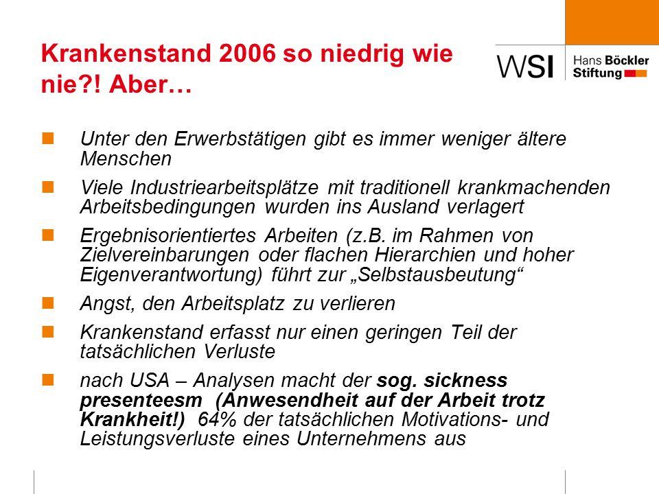 Krankenstand 2006 so niedrig wie nie?.