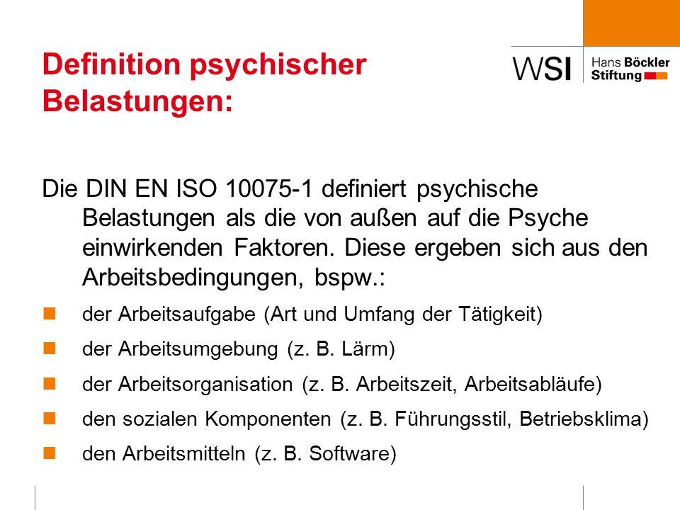 Definition psychischer Belastungen: Die DIN EN ISO 10075-1 definiert psychische Belastungen als die von außen auf die Psyche einwirkenden Faktoren.