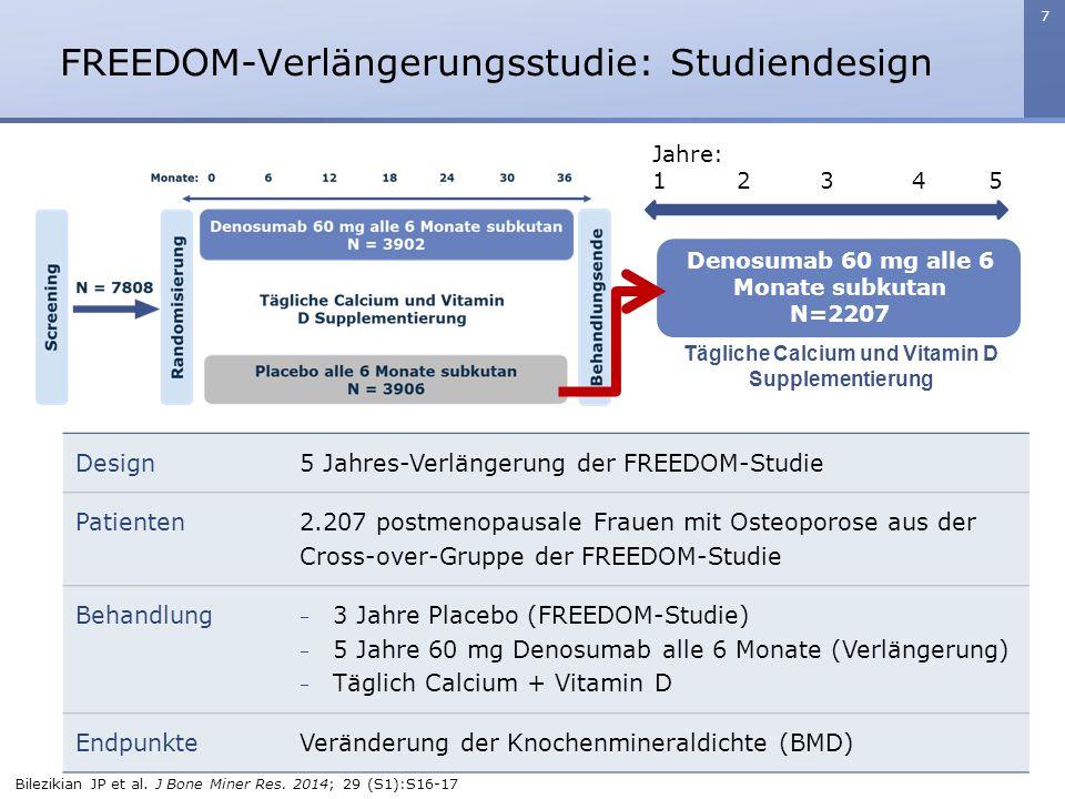 7 FREEDOM-Verlängerungsstudie: Studiendesign Jahre: 1 2 3 4 5 Denosumab 60 mg alle 6 Monate subkutan N=2207 Tägliche Calcium und Vitamin D Supplementi