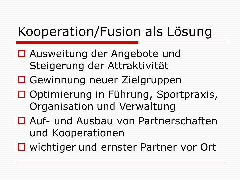 Kooperation/Fusion als Lösung  Ausweitung der Angebote und Steigerung der Attraktivität  Gewinnung neuer Zielgruppen  Optimierung in Führung, Sportpraxis, Organisation und Verwaltung  Auf- und Ausbau von Partnerschaften und Kooperationen  wichtiger und ernster Partner vor Ort