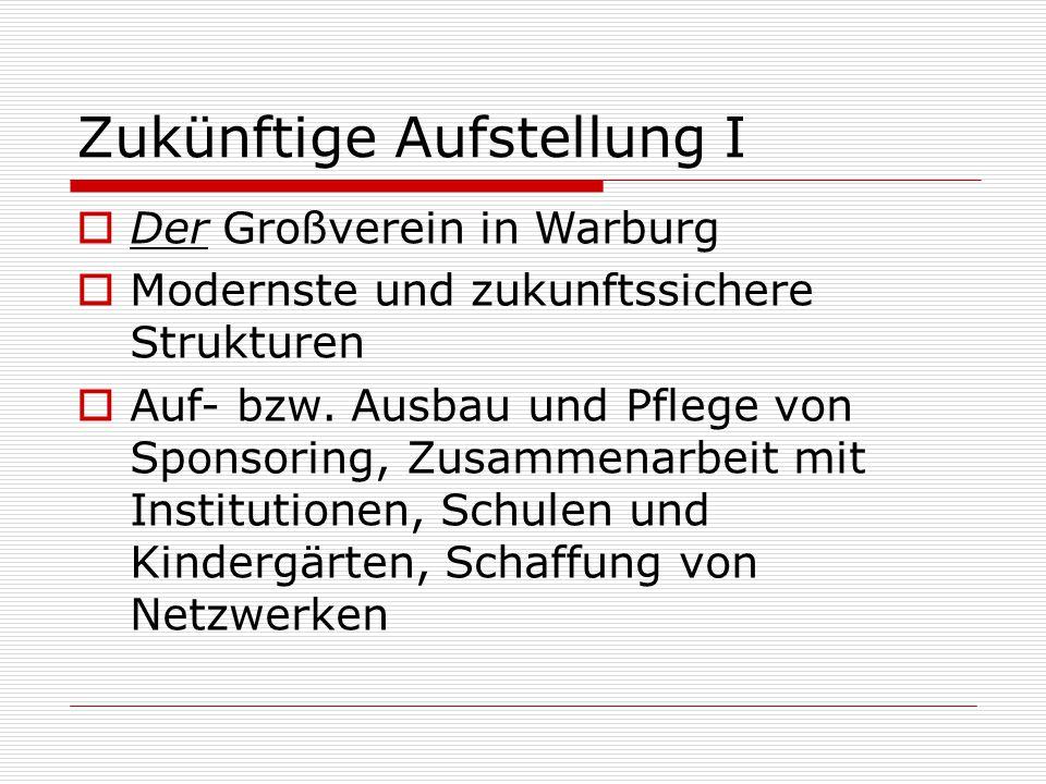 Zukünftige Aufstellung I  Der Großverein in Warburg  Modernste und zukunftssichere Strukturen  Auf- bzw. Ausbau und Pflege von Sponsoring, Zusammen