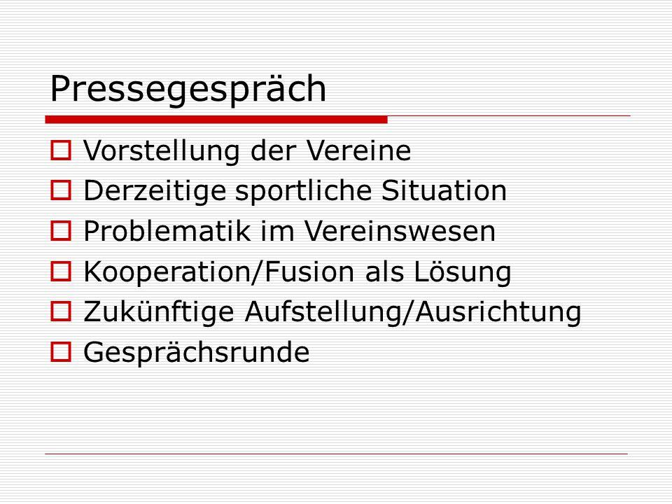 Pressegespräch  Vorstellung der Vereine  Derzeitige sportliche Situation  Problematik im Vereinswesen  Kooperation/Fusion als Lösung  Zukünftige