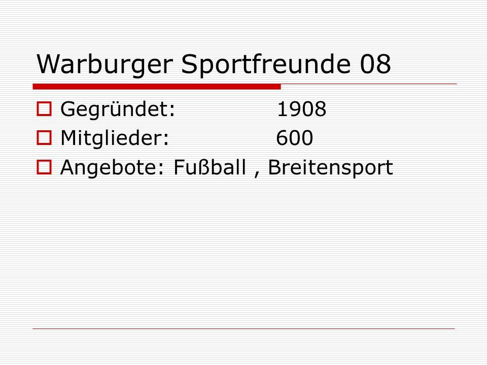 Eisenbahner Sportverein Warburg  Gegründet:  Mitglieder: 200  Angebote: Breitensport, Judo, Gymnastik