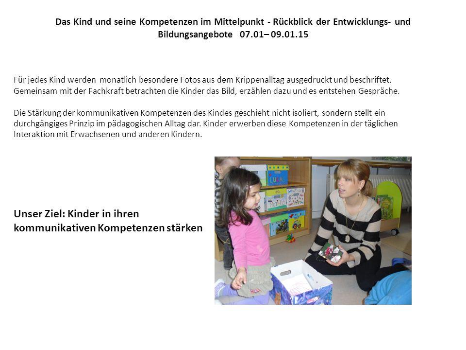 Das Kind und seine Kompetenzen im Mittelpunkt - Rückblick der Entwicklungs- und Bildungsangebote 07.01– 09.01.15 Für jedes Kind werden monatlich besondere Fotos aus dem Krippenalltag ausgedruckt und beschriftet.