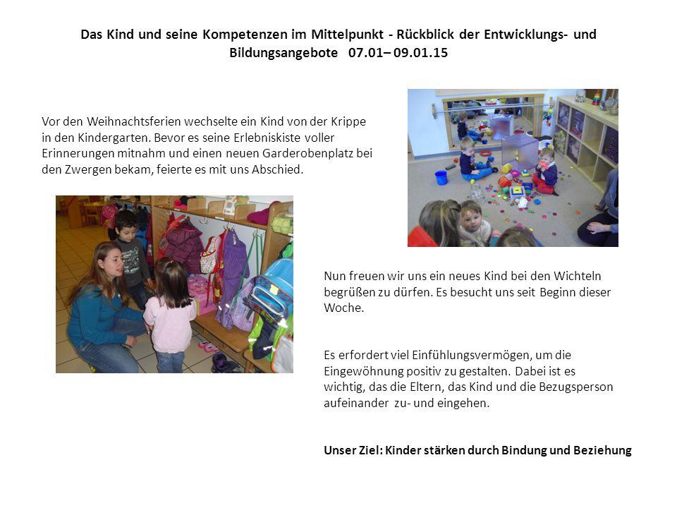 Das Kind und seine Kompetenzen im Mittelpunkt - Rückblick der Entwicklungs- und Bildungsangebote 07.01– 09.01.15 Vor den Weihnachtsferien wechselte ein Kind von der Krippe in den Kindergarten.