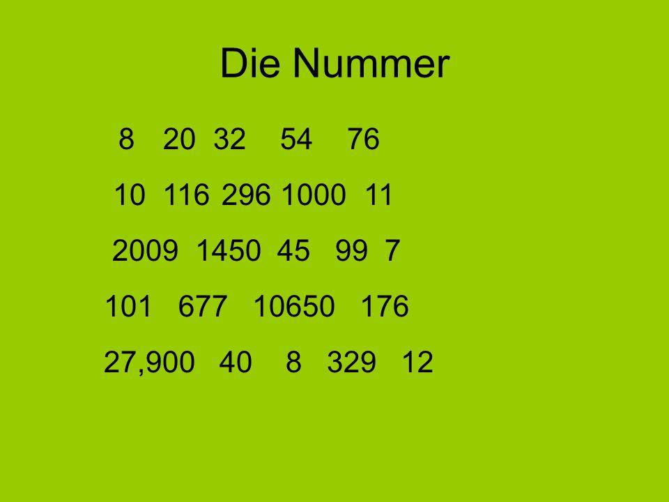 Die Nummer 8 20325476 10 116 2961000 11 2009 1450 45 99 7 101 677 10650 176 27,900 40 8 329 12