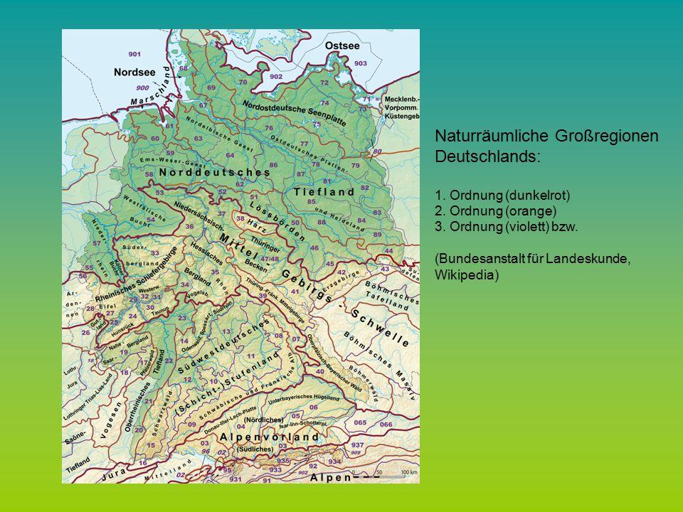 Naturräumliche Großregionen Deutschlands: 1.Ordnung (dunkelrot) 2.