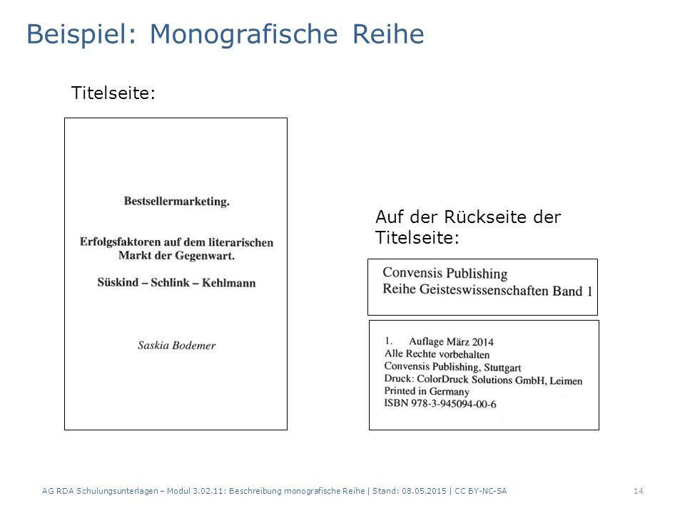 Beispiel: Monografische Reihe AG RDA Schulungsunterlagen – Modul 3.02.11: Beschreibung monografische Reihe | Stand: 08.05.2015 | CC BY-NC-SA14 Titelseite: Auf der Rückseite der Titelseite:
