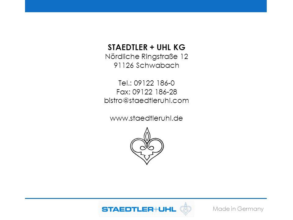 STAEDTLER + UHL KG Nördliche Ringstraße 12 91126 Schwabach Tel.: 09122 186-0 Fax: 09122 186-28 bistro@staedtleruhl.com www.staedtleruhl.de Made in Ger