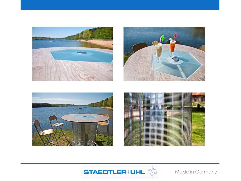 Optional erhältlich: -Verschiedene Tischdekore -Wetterbeständige Schirme -Werbeaufdrucke -Passende Kabeltrommel Made in Germany