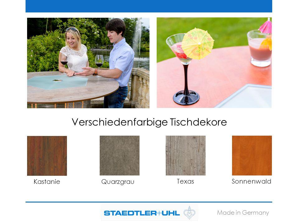 Made in Germany Eigenschaften der Tischplatten: -Witterungsbeständig -Doppelt gehärtet -Lösungsmittelbeständig -Gut reinigbar -Schlagzäh -Für alle Außenanwendungen geeignet -Frost- und Hitzeunempfindlich -Frei von Schwermetallen Eigenschaften der Glasplatten: -Bruchsicher -Stabil -Kratzfest