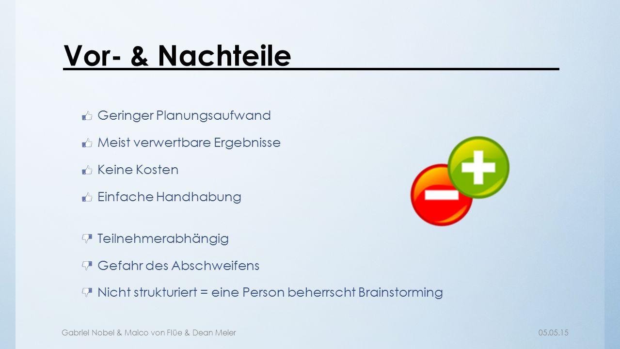 Gabriel Nobel & Maico von Flüe & Dean Meier05.05.15 Vor- & Nachteile Geringer Planungsaufwand Meist verwertbare Ergebnisse Keine Kosten Einfache Handh
