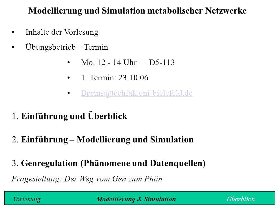 Modellierung und Simulation metabolischer Netzwerke Inhalte der Vorlesung Übungsbetrieb – Termin Mo. 12 - 14 Uhr – D5-113 1. Termin: 23.10.06 Bprins@t