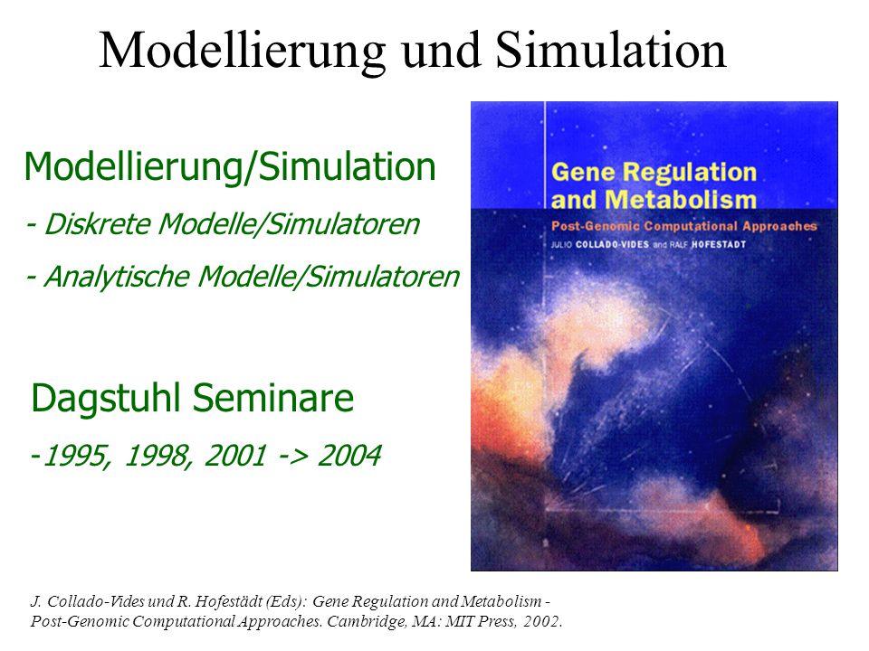 Modellierung/Simulation - Diskrete Modelle/Simulatoren - Analytische Modelle/Simulatoren Dagstuhl Seminare -1995, 1998, 2001 -> 2004 J. Collado-Vides