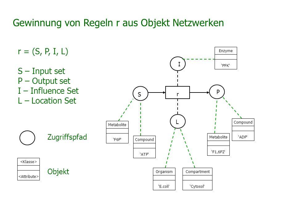 Gewinnung von Regeln r aus Objekt Netzwerken r = (S, P, I, L) S – Input set P – Output set I – Influence Set L – Location Set I P L r Metabolite 'F6P'