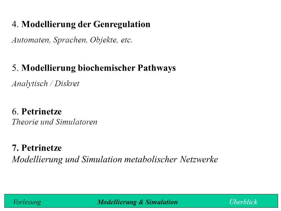 4. Modellierung der Genregulation Automaten, Sprachen, Objekte, etc. 5. Modellierung biochemischer Pathways Analytisch / Diskret 6. Petrinetze Theorie
