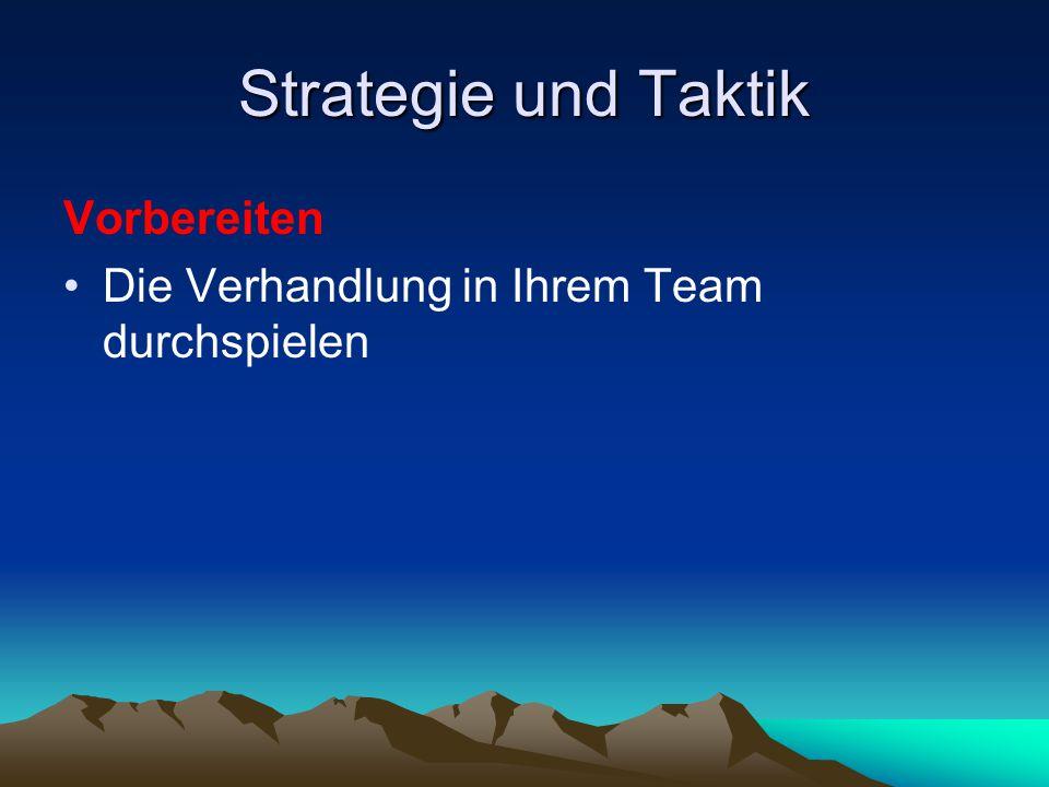 Strategie und Taktik Vorbereiten Die Verhandlung in Ihrem Team durchspielen