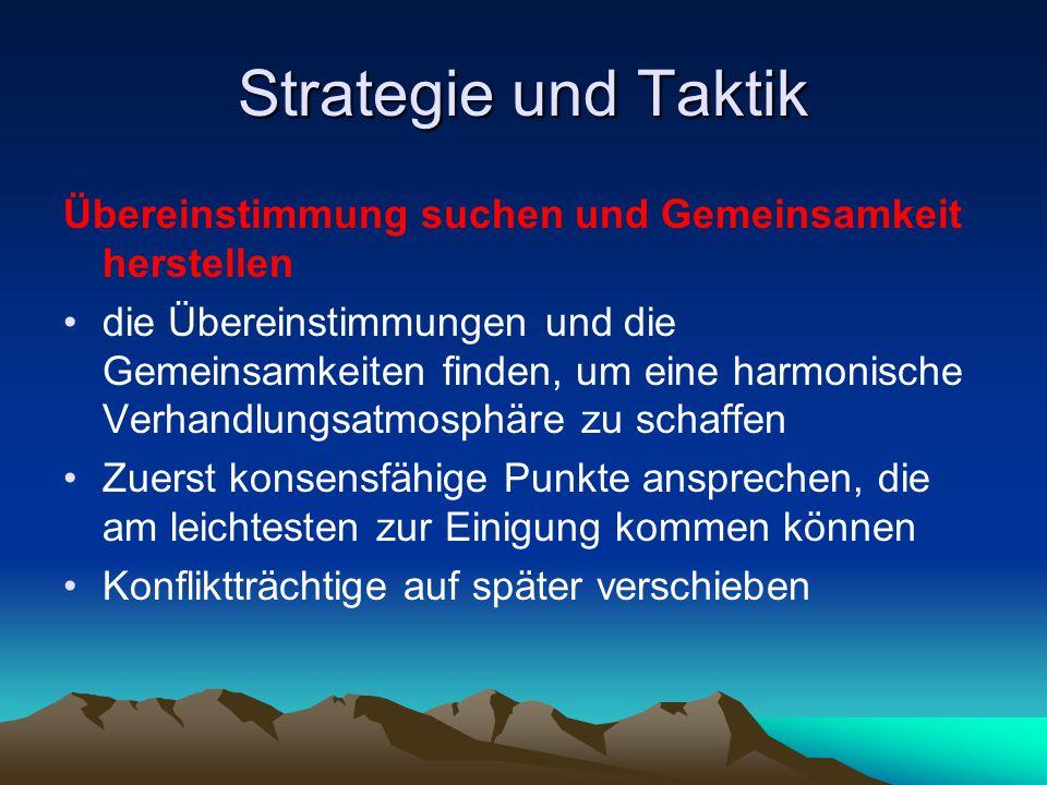Strategie und Taktik Übereinstimmung suchen und Gemeinsamkeit herstellen die Übereinstimmungen und die Gemeinsamkeiten finden, um eine harmonische Ver