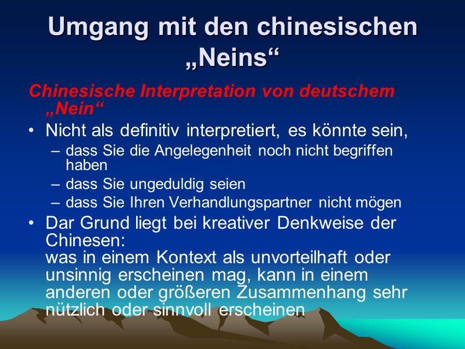 """Umgang mit den chinesischen """"Neins"""" Chinesische Interpretation von deutschem """"Nein"""" Nicht als definitiv interpretiert, es könnte sein, –dass Sie die A"""
