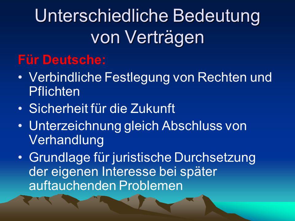 Unterschiedliche Bedeutung von Verträgen Für Deutsche: Verbindliche Festlegung von Rechten und Pflichten Sicherheit für die Zukunft Unterzeichnung gle