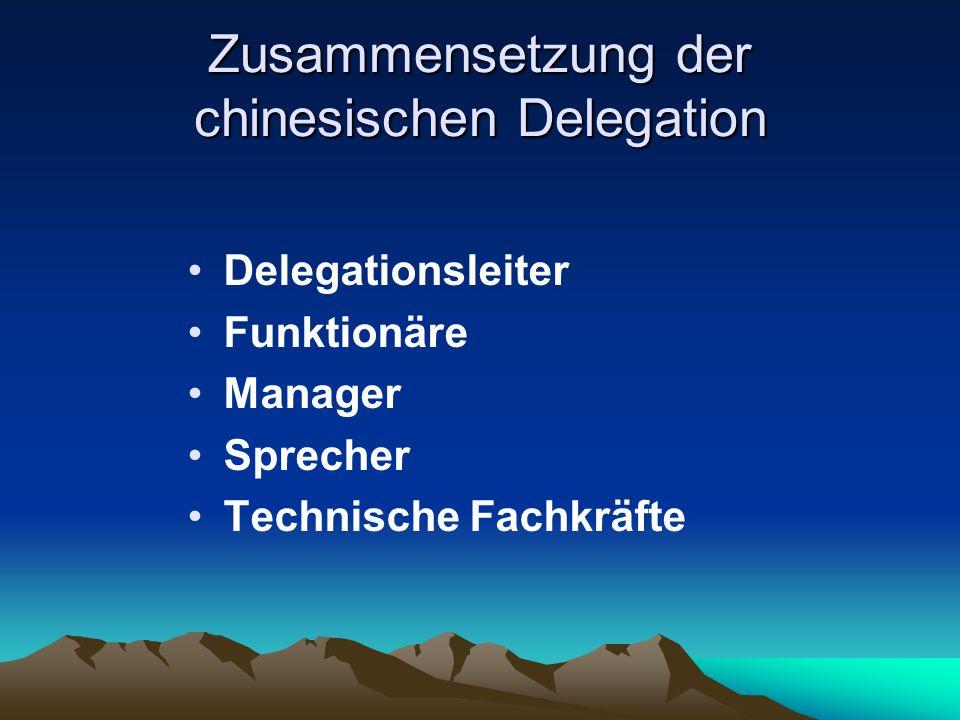Zusammensetzung der chinesischen Delegation Delegationsleiter Funktionäre Manager Sprecher Technische Fachkräfte