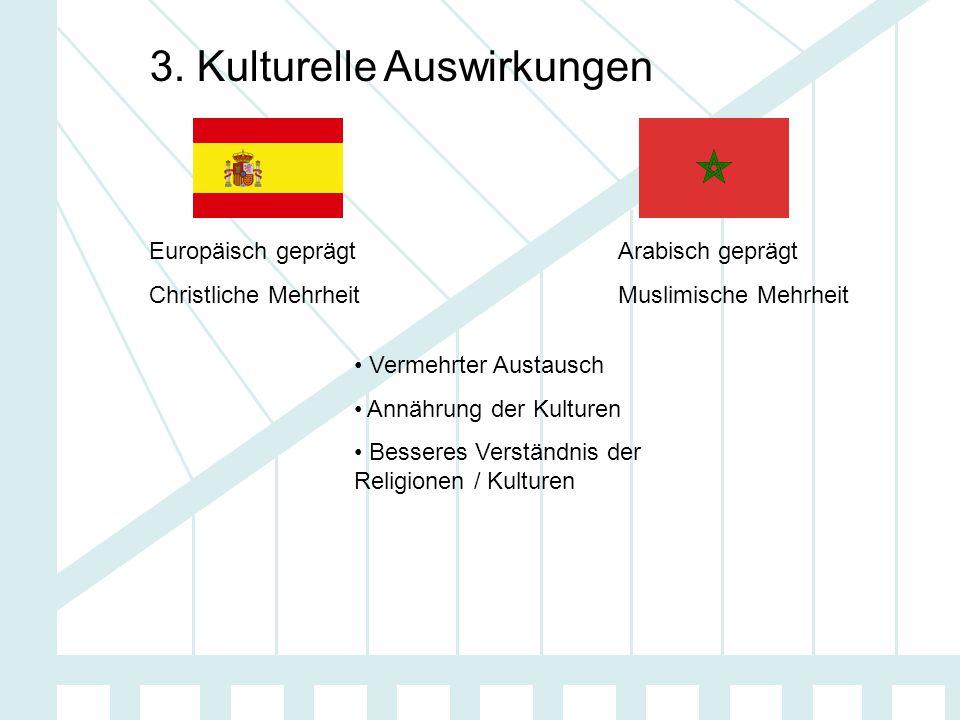 3. Kulturelle Auswirkungen Europäisch geprägt Christliche Mehrheit Arabisch geprägt Muslimische Mehrheit Vermehrter Austausch Annährung der Kulturen B