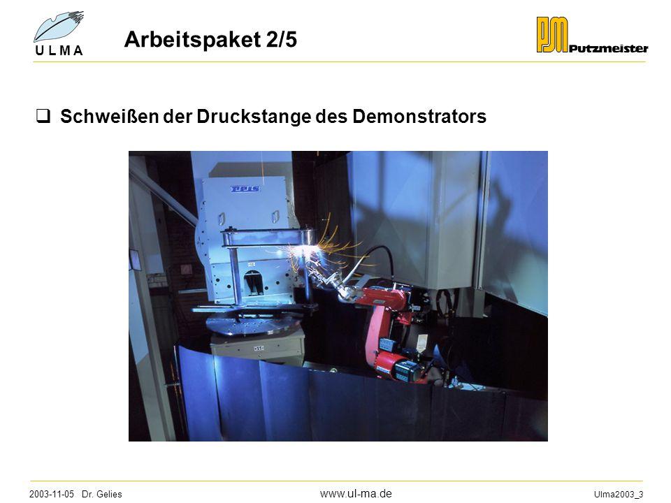 2003-11-05 Dr. Gelies www.ul-ma.de Ulma2003_3 U L M A Arbeitspaket 2/6