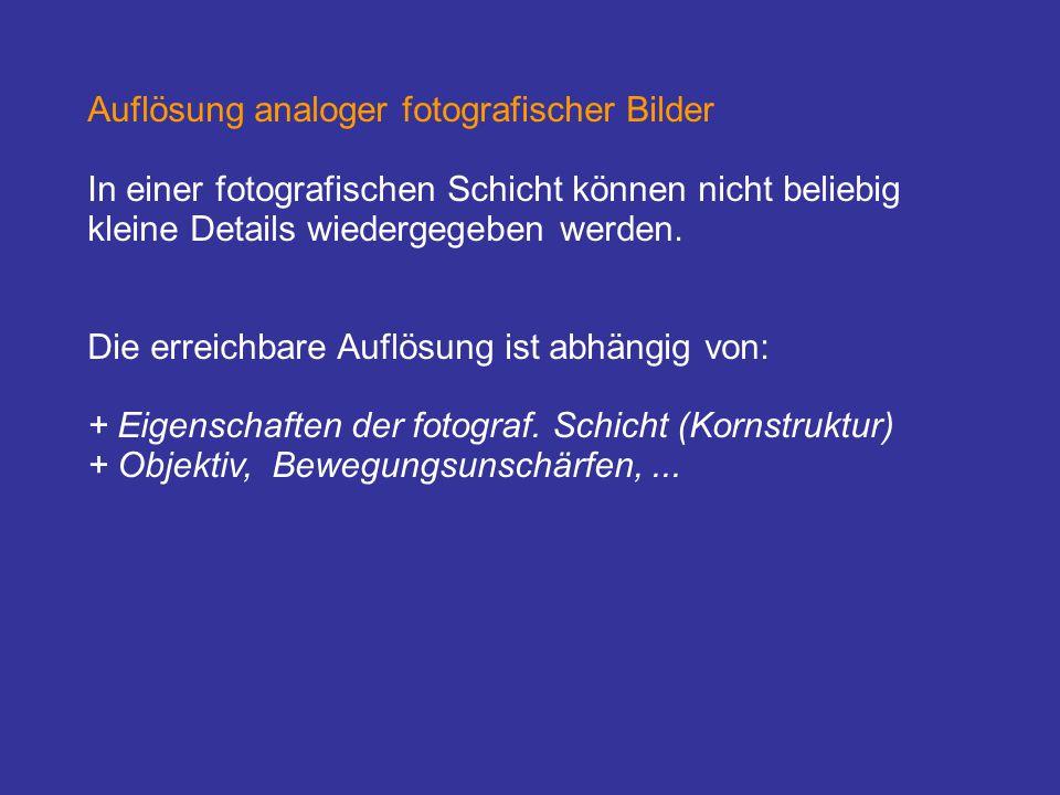 Auflösung analoger fotografischer Bilder In einer fotografischen Schicht können nicht beliebig kleine Details wiedergegeben werden. Die erreichbare Au