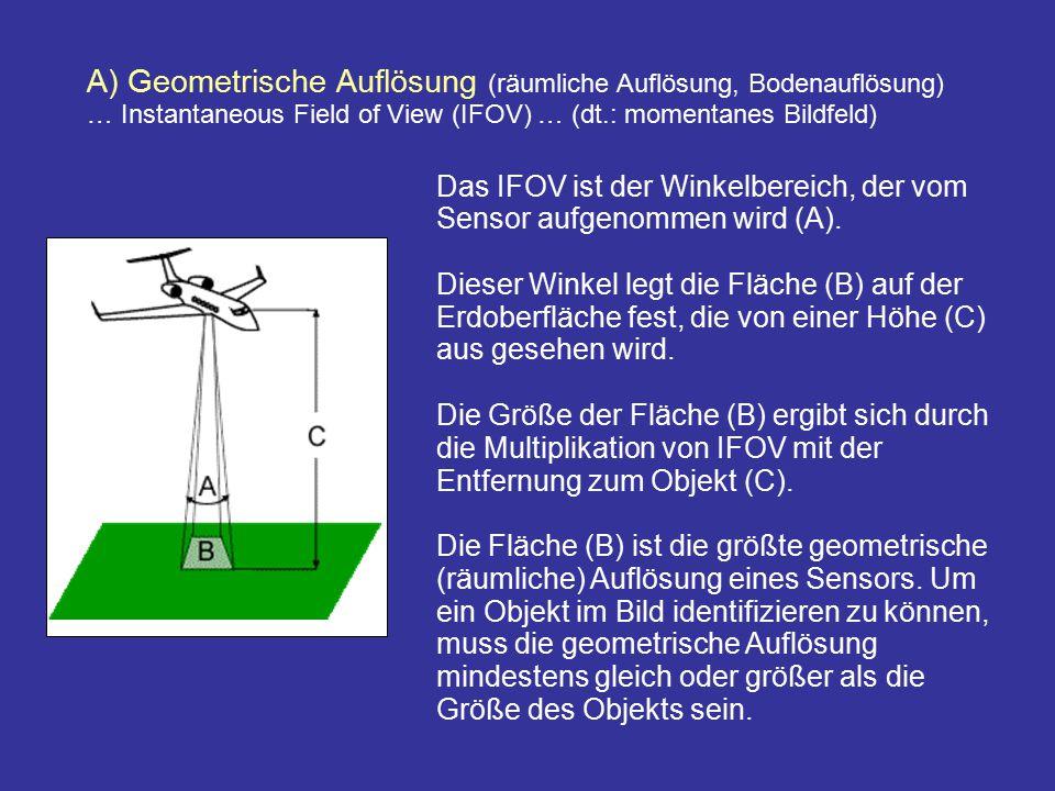 A) Geometrische Auflösung (räumliche Auflösung, Bodenauflösung) … Instantaneous Field of View (IFOV) … (dt.: momentanes Bildfeld) Das IFOV ist der Win