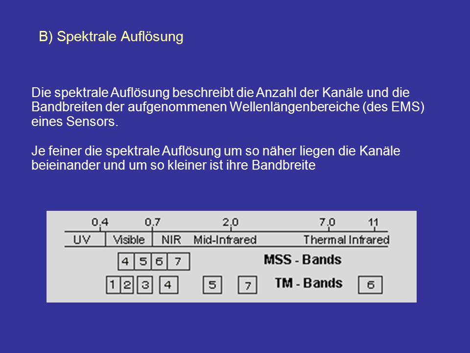 B) Spektrale Auflösung Die spektrale Auflösung beschreibt die Anzahl der Kanäle und die Bandbreiten der aufgenommenen Wellenlängenbereiche (des EMS) e