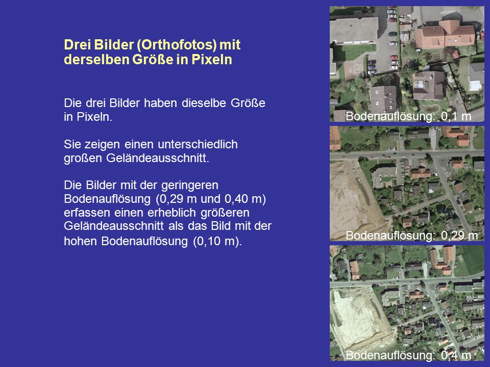 Drei Bilder (Orthofotos) mit derselben Größe in Pixeln Die drei Bilder haben dieselbe Größe in Pixeln. Sie zeigen einen unterschiedlich großen Gelände