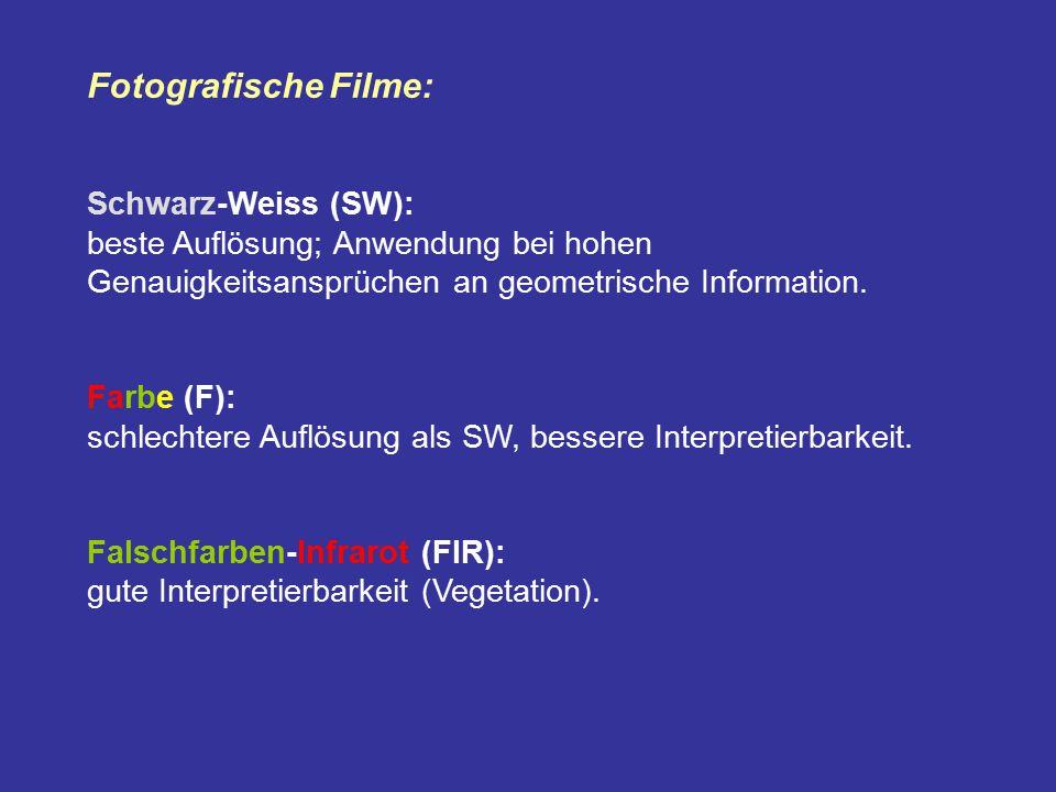 Fotografische Filme: Schwarz-Weiss (SW): beste Auflösung; Anwendung bei hohen Genauigkeitsansprüchen an geometrische Information. Farbe (F): schlechte