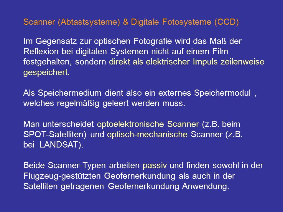 Scanner (Abtastsysteme) & Digitale Fotosysteme (CCD) Im Gegensatz zur optischen Fotografie wird das Maß der Reflexion bei digitalen Systemen nicht auf