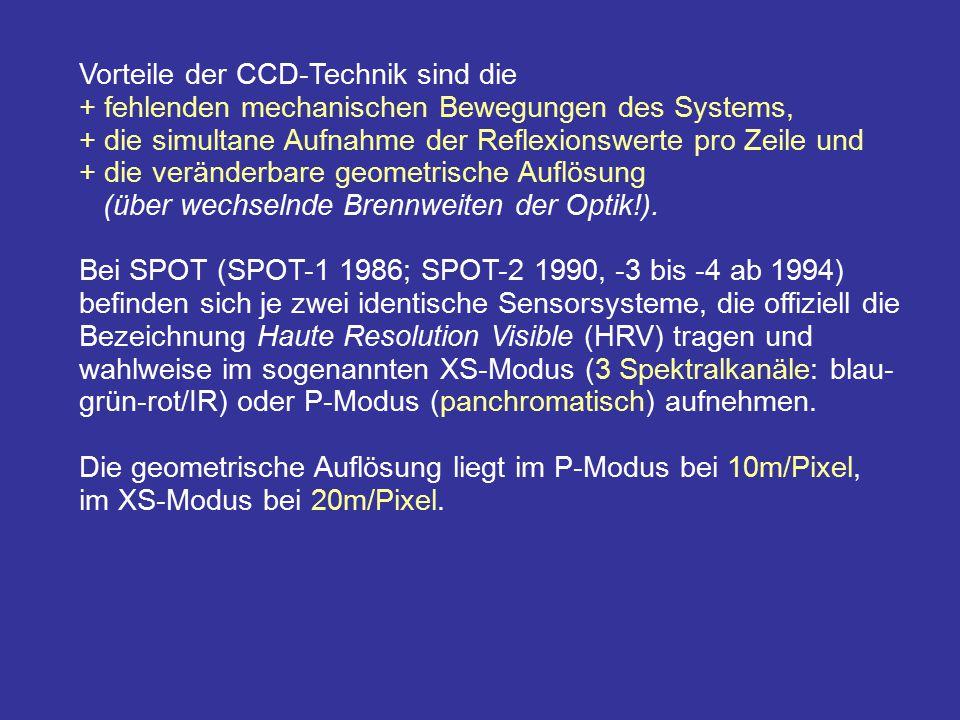 Vorteile der CCD-Technik sind die + fehlenden mechanischen Bewegungen des Systems, + die simultane Aufnahme der Reflexionswerte pro Zeile und + die ve