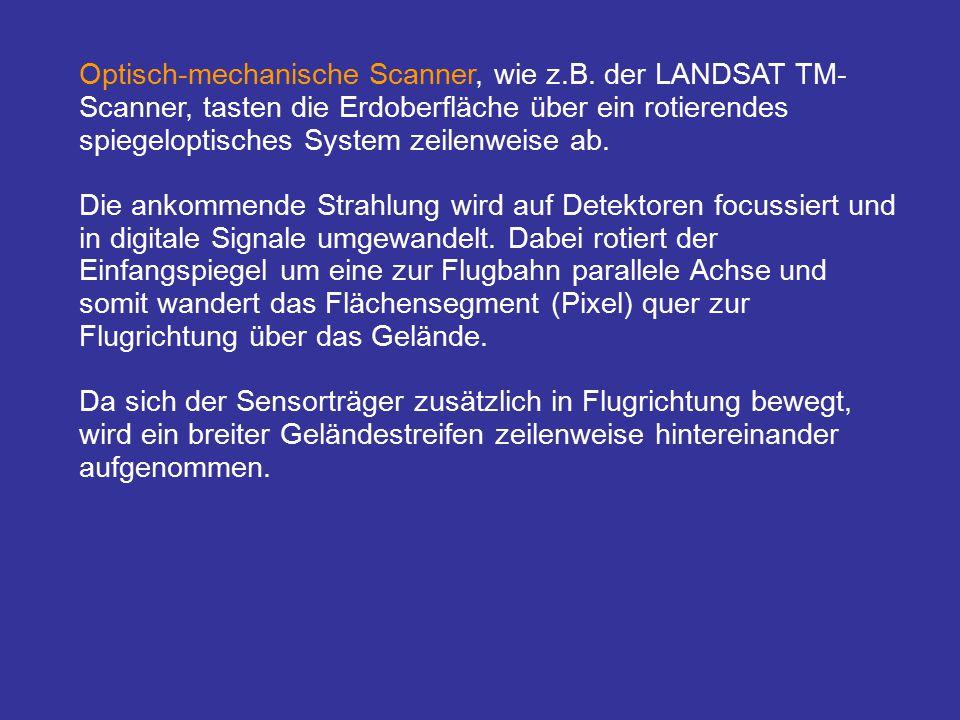 Optisch-mechanische Scanner, wie z.B. der LANDSAT TM- Scanner, tasten die Erdoberfläche über ein rotierendes spiegeloptisches System zeilenweise ab. D