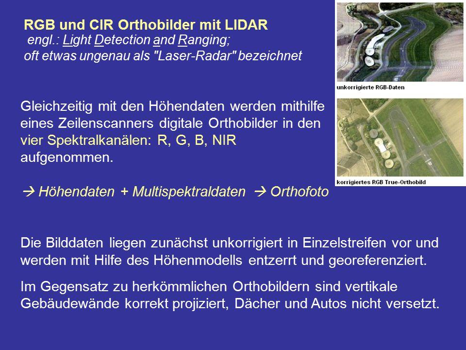RGB und CIR Orthobilder mit LIDAR engl.: Light Detection and Ranging; oft etwas ungenau als