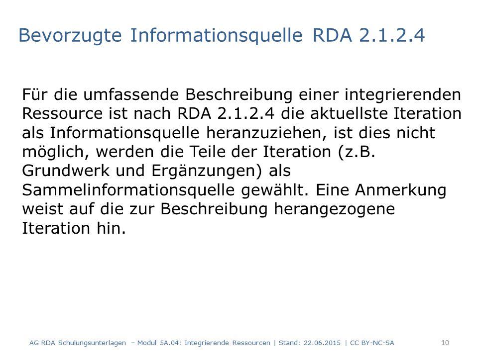 Bevorzugte Informationsquelle RDA 2.1.2.4 Für die umfassende Beschreibung einer integrierenden Ressource ist nach RDA 2.1.2.4 die aktuellste Iteration als Informationsquelle heranzuziehen, ist dies nicht möglich, werden die Teile der Iteration (z.B.