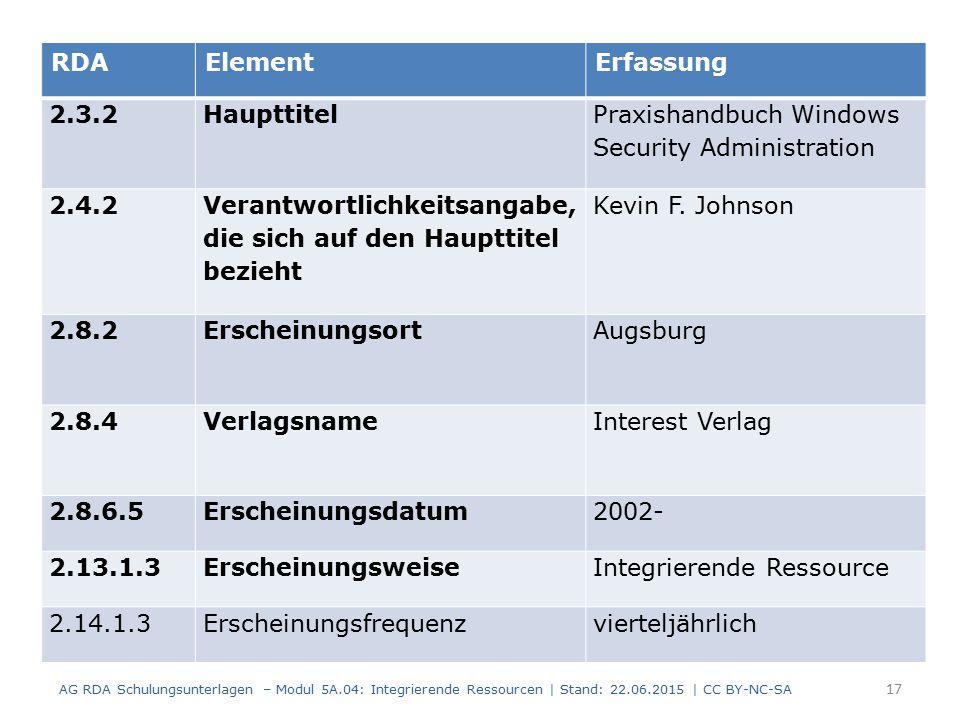 17 RDAElementErfassung 2.3.2Haupttitel Praxishandbuch Windows Security Administration 2.4.2 Verantwortlichkeitsangabe, die sich auf den Haupttitel bezieht Kevin F.